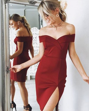 Off the Shoulder Satin Burgundy Bodycon Homecoming Dress with Slit HD3312