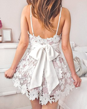 Spaghetti Straps Lace Lavender Homecoming Dress with Bowknot HD3313