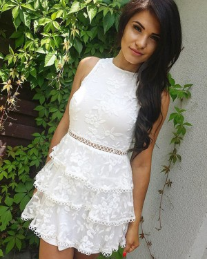 High Neck Embroidery White Layered Short Formal Dress HD3315