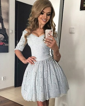 Grey Lace Ball Gown Homecoming Dress with Half Sleeves HD3320