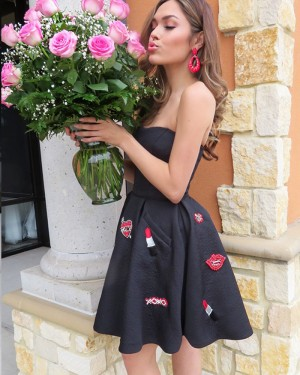 Strapless Black Satin Appliqued Homecoming Dress with Pockets HD3326