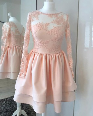 Jewel Neckline Embroidered Pink Pleated Homecoming Dress with Long Sleeves HD3333