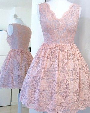 V-neck Lace Pink Pleated A-line Short Homecoming Dress HD3334