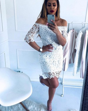 Off the Shoulder Lace Bodycon Club Dress with Half Length Sleeves HD3339