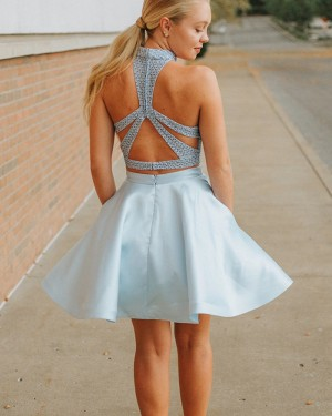 Dusty Blue Two Piece High Neck Homecoming Dress with Pockets HD3342