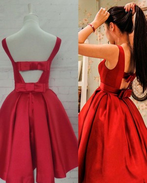 Scoop Neckline Pleated Red Satin Homecoming Dress with Bowknot HD3346