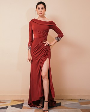 Satin Side Slit Ruched Burgundy Evening Dress with Beading Long Sleeves QS441050