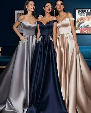 Satin Pleated Long Evening Dress with Beading Pockets BD2001