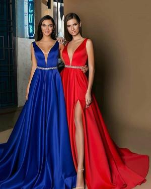 Deep V-neck Satin Long Evening Dress with Side Slit BD2002