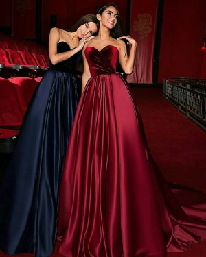 Sweetheart Satin Ruched Evening Gown with Court Train BD2003