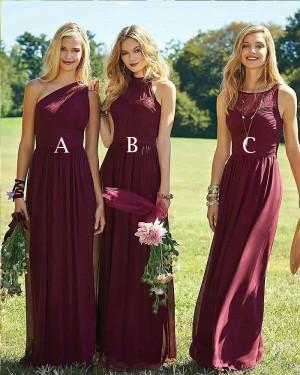 Flowing Pleated Burgundy Chiffon Bridesmaid Dress BD2007