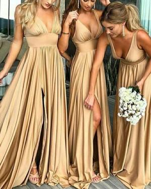 V-neck Champagne Floor Length Bridesmaid Dress with Side Slit BD2009