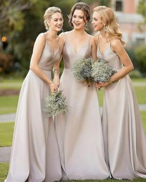 Simple Dusty Brown Satin Floor Length Bridesmaid Dress BD2010