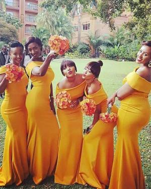 Simple Satin Orange Mermaid Long Bridesmaid Dress BD2013