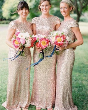 Jewel Gold Sequined Mermaid Bridesmaid Dress with Cap Sleeves BD2014