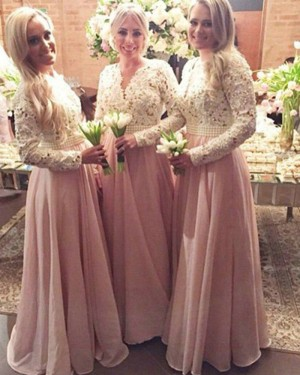 White and Pink V-neck Lace Bodice Bridesmaid Dress with Long Sleeves BD2015