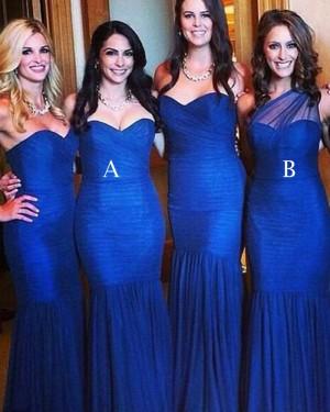 Simple Royal Blue Pleated Mermaid Long Bridesmaid Dress BD2019