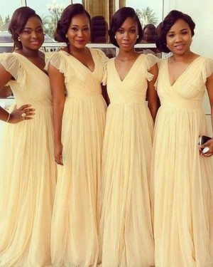 V-neck Yellow Ruched Tulle Bridesmaid Dress BD2020