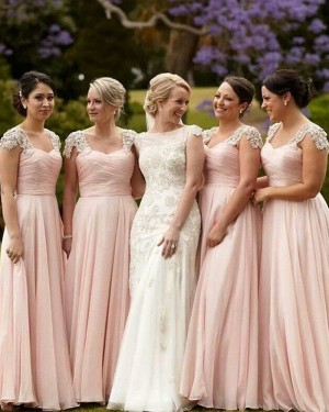 Pink Tulle Ruched Bridesmaid Dress with Appliqued Cap Sleeves BD2021