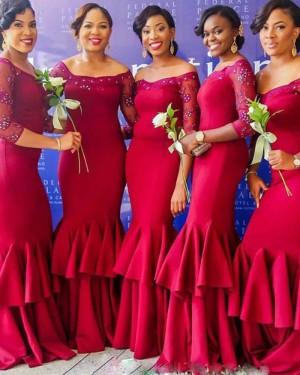 Red Beading Satin Mermaid Bridesmaid Dress with 3/4 Length Sleeves BD2023