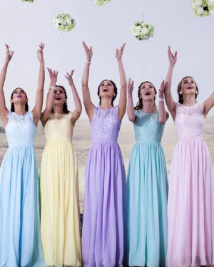 High Neck Lace Chiffon Long Bridesmaid Dress BD2024