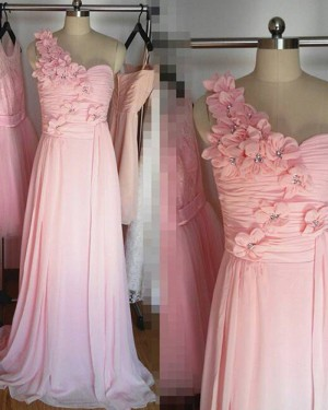 One Shoulder Ruched Pink Long Bridesmaid Dress with Handmade Flowers BD2025