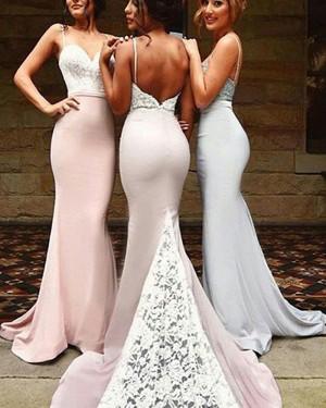 Lace Bodice Mermaid Spaghetti Straps Bridesmaid Dress with Court Train BD2028