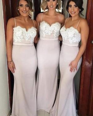 Pearl Pink Spaghetti Straps Lace Bodice Mermaid Bridesmaid Dress BD2029