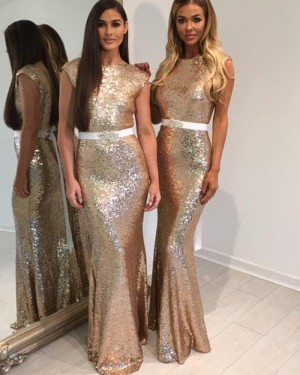 Jewel Gold Sequined Mermaid Bridesmaid Dress with Belt BD2030