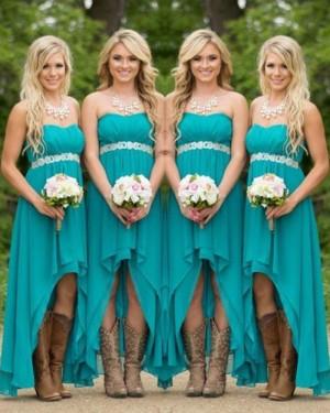 High Low Chiffon Empire Bridesmaid Dress with Belt BD2031