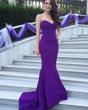 Blue Sweetheart Mermaid Satin Simple Evening Dress BD2032