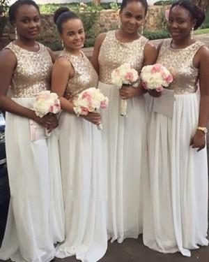 Sequined Bodice Chiffon Brush Bridesmaid Dress BD2033