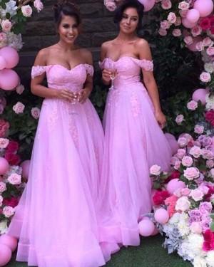 Lace Appliqued Blush Pink Tulle Bridesmaid Dress BD2034