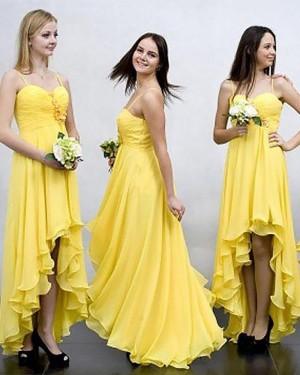 High Low Spaghetti Straps Ruched Chiffon Yellow Bridesmaid Dress BD2035