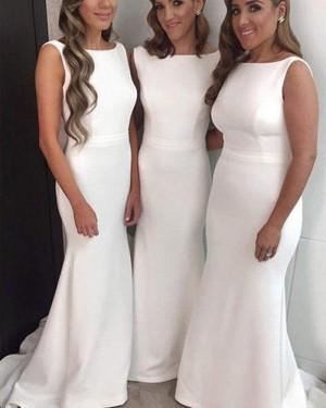 Simple Satin Mermaid Bateau White Bridesmaid Dress BD2037