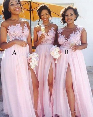 Sheer Appliqued Chiffon Pink Bridesmaid Dress with High Slit BD2041