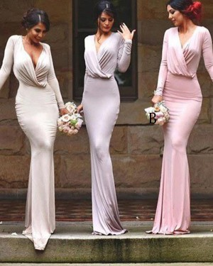 V-neck Ruched Mermaid Simple Bridesmaid Dress with Long Sleeves BD2042