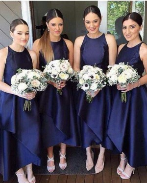 Tea Length Round Neck Navy Blue Satin Bridesmaid Dress BD2044
