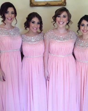 Jewel Beading Chiffon Pink Pleated Bridesmaid Dress BD2045