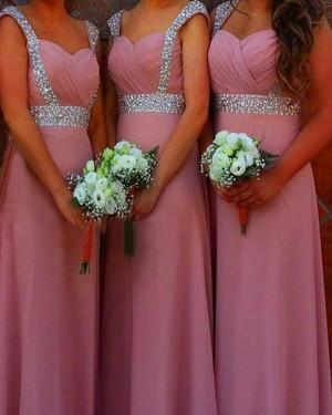 Square Beading Blush Pink Satin Bridesmaid Dress BD2046