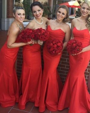 Sweetheart Red Mermaid Satin Simple Bridesmaid Dress BD2047