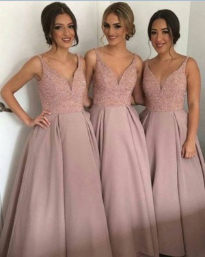 V-neck Blush Beading Satin Ball Gown Bridesmaid Dress BD2049