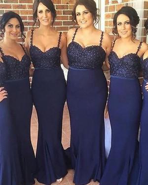 Spaghetti Straps Navy Blue Beading Satin Mermaid Bridesmaid Dress BD2050