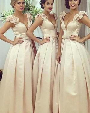 Deep V-neck Satin Ivory Pleated Bridesmaid Dress BD2052