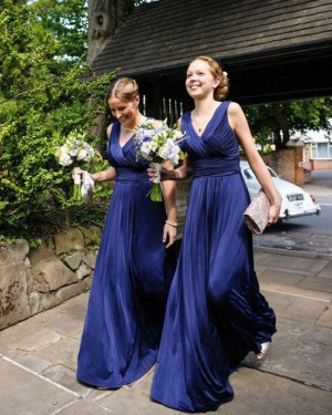 V-neck Blue Ruched Long Simple Bridesmaid Dress BD2053