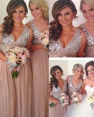 Chiffon Tulle V-neck Beading Bodice Blush Bridesmaid Dress BD2056