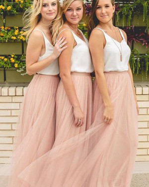 V-neck White and Pink Tulle Bridesmaid Dress BD2057