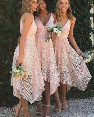 V-neck Pink Lace Asymmetric Tea Length Bridesmaid Dress BD2058