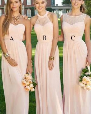 Pink Chiffon Ruched Sweetheart Bridesmaid Dress BD2059