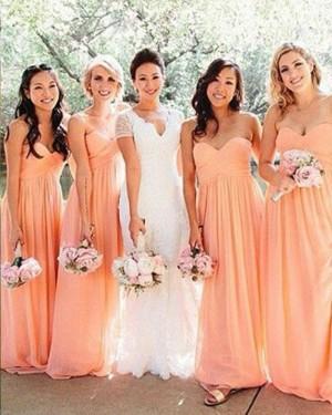 Sweetheart Chiffon Ruched Coral Bridesmaid Dress BD2060